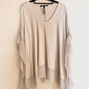 BCBG KNIT TUNIC WITH TULLE TRIM